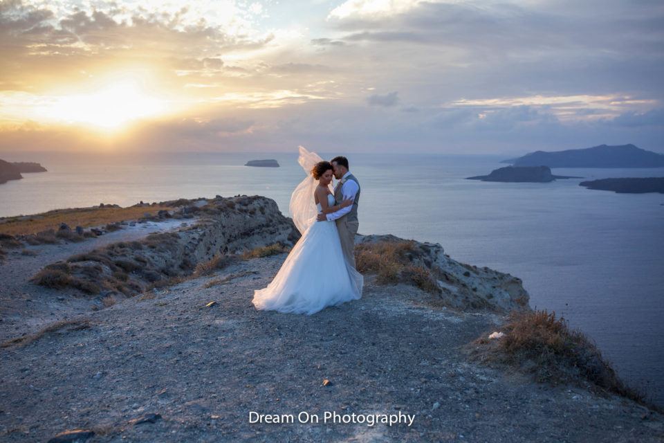 bridal hair Santorini